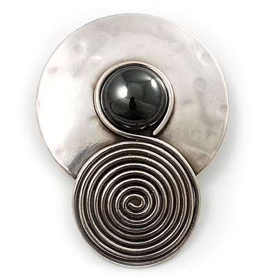 Round Black Onyx Brooch with Circular Stainless Steel Vortex