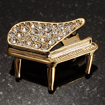 Small Gold Tone Crystal Grand Piano Brooch