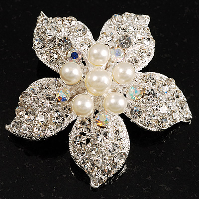 Bridal Pearl Style Crystal Flower Brooch (Silver Tone)