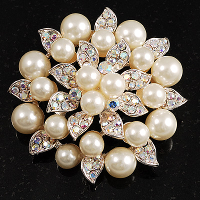 Stunning Wedding Imitation Pearl AB Crystal Corsage Brooch (Silver Tone) - main view