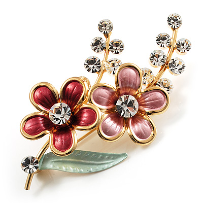 Gold Tone Enamel Crystal Floral Brooch (Pink&Red) - main view