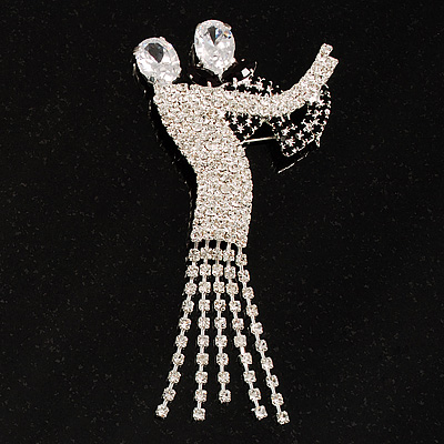 &#039;Dancing Couple&#039; Crystal Brooch (Clear&amp;Black)