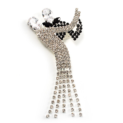 'Dancing Couple' Crystal Brooch (Clear&Black)