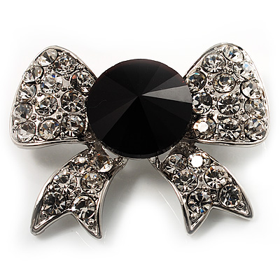 Smart Crystal Bow Brooch (Silver,Clear&Black) - main view