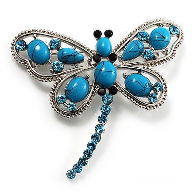 Turquoise Stone Crystal Butterfly Brooch - main view