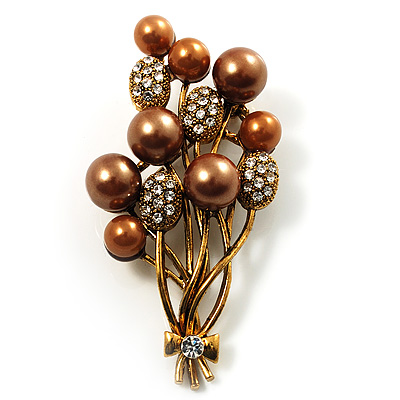 Faux Pearl Floral Brooch (Antique Gold & Brown)