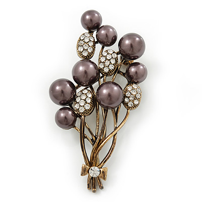 Faux Pearl Floral Brooch (Antique Gold & Brown) - main view