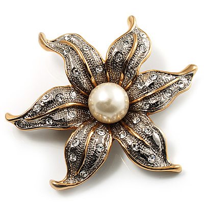 Stunning Vintage Crystal Flower Brooch (Gold&amp;Silver Tone)