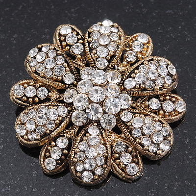 Vintage Swarovski Crystal Floral Brooch (Antique Gold) - main view