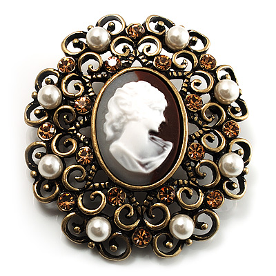 Imitation Pearl Filigree Cameo Brooch (Bronze Tone) - main view