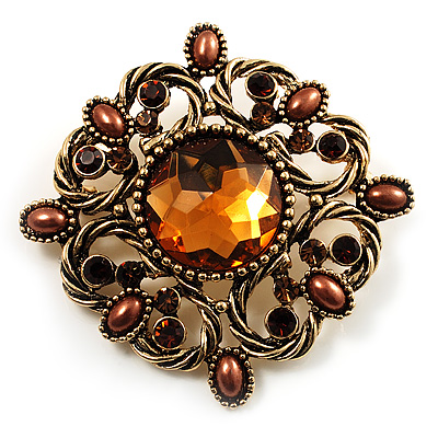 Vintage Filigree Crystal Brooch (Antique Gold&amp;Amber Coloured) - main view