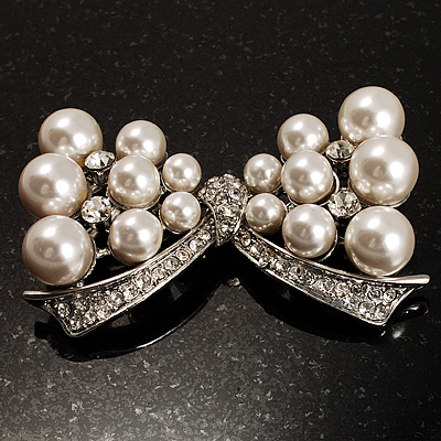 Imitation Pearl Diamante Bow Brooch (Silver Tone) - main view
