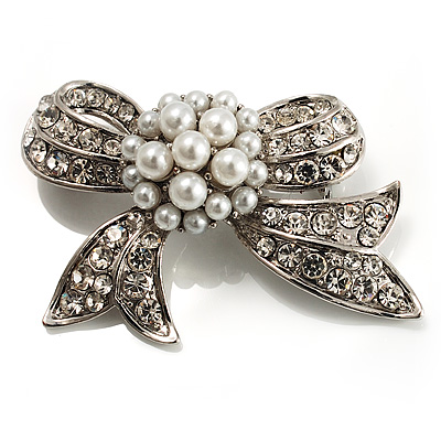 Small Crystal Faux Pearl Bow Brooch - main view