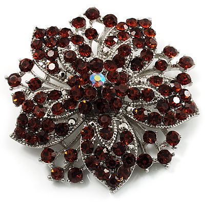 Victorian Corsage Flower Brooch (Silver & Amber Coloured)