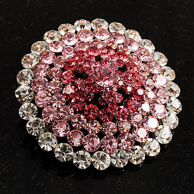 Pink Crystal Corsage Brooch (Silver Tone)
