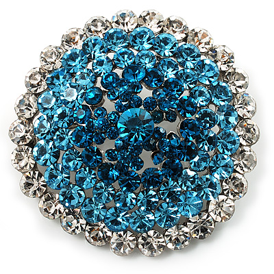 Sky Blue Crystal Corsage Brooch (Silver Tone)