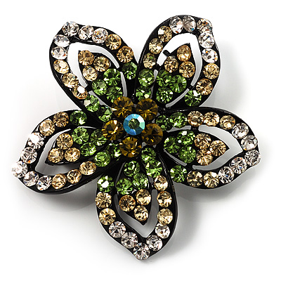 Five Petal Diamante Floral Brooch (Black&amp;Olive Green)