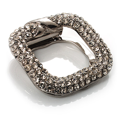 Square Shaped Crystal Scarf Pin/ Brooch (Silver Tone)