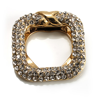Square Shaped Crystal Scarf Pin/ Brooch (Gold Tone)