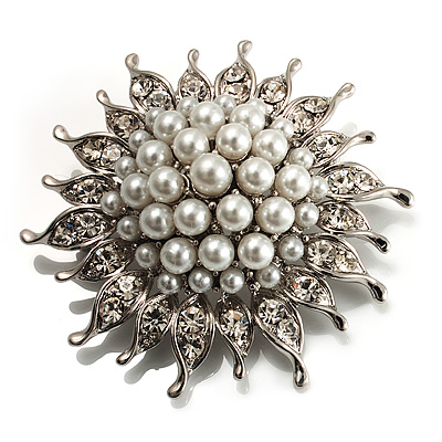 Stunning Small Bridal Imitation Pearl Crystal Brooch (Snow White)