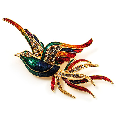 Exotic Multicoloured Flying Fire-Bird Brooch