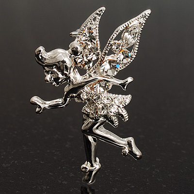 Magical Fairy With Clear Crystal Wings Brooch (Silver Tone) - main view