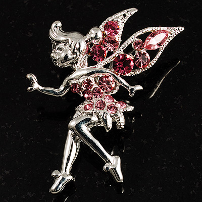 Magical Fairy With Pink Crystal Wings Brooch (Silver Tone) - main view