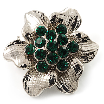 Tiny Green Crystal Flower Pin Brooch