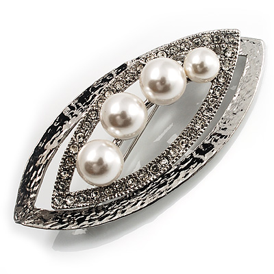 Abstract Simulated Pearl Leaf Brooch (Silver Tone)