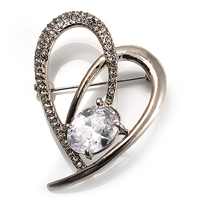 Open CZ Heart Brooch (Silver Tone) - main view