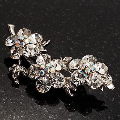 Swarovski Crystal Floral Brooch (Silver Tone) - main view