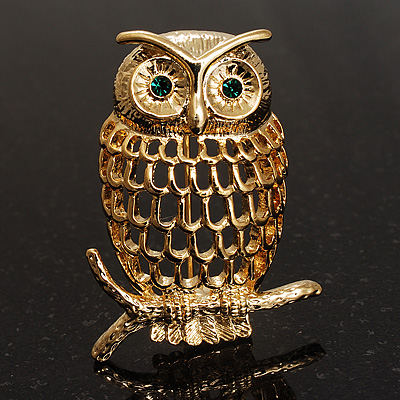 Gold-Tone Wise Filigree Owl Brooch - main view