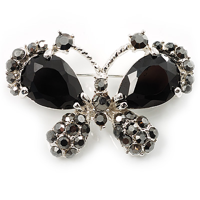 Small CZ Butterfly Brooch (Silver&Jet Black) - main view