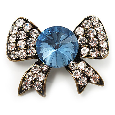 Vintage Crystal Bow Brooch (Antique Gold, Clear&Blue)