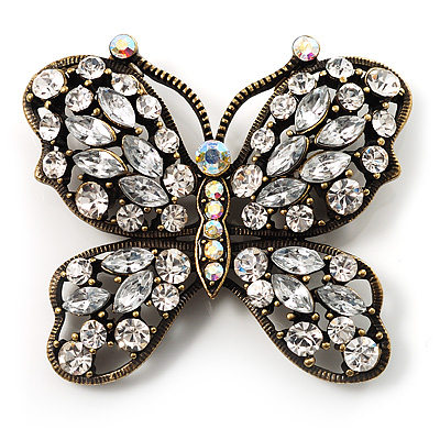 Antique Bronze Diamante Butterfly Brooch
