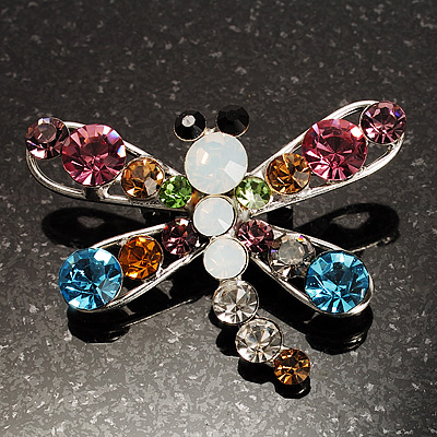 Small Multicoloured Dragonfly Brooch (Silver Tone)