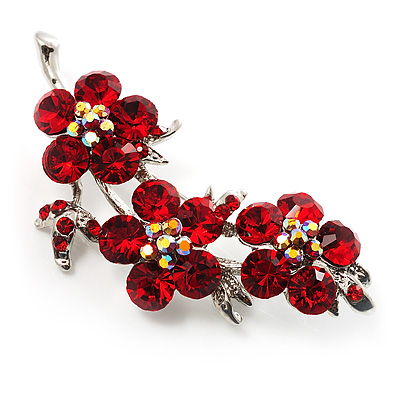 Swarovski Crystal Floral Brooch (Silver&amp; Bright Red)