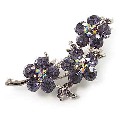 Swarovski Crystal Floral Brooch (Silver&Lilac) - main view