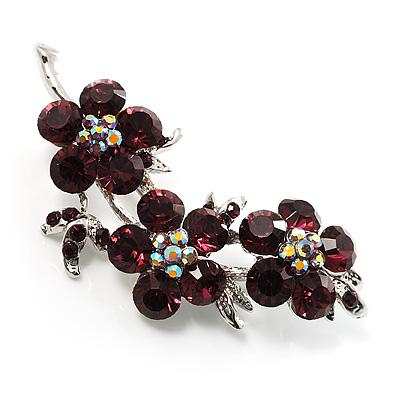 Swarovski Crystal Floral Brooch (Silver&Purple) - main view