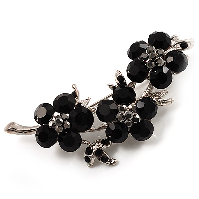 Swarovski Crystal Floral Brooch (Silver&Jet Black) - main view