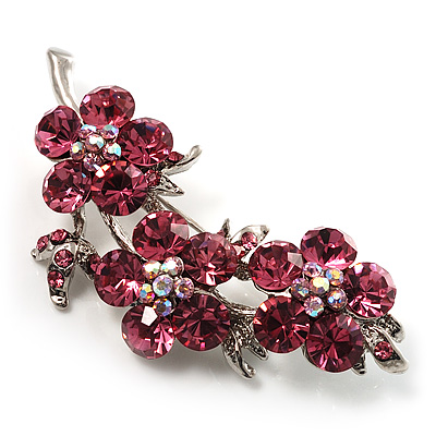 Swarovski Crystal Floral Brooch (Silver&Pink) - main view