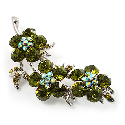 Swarovski Crystal Floral Brooch (Silver&Olive Green) - main view