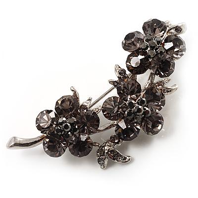 Swarovski Crystal Floral Brooch (Silver&Dim Grey) - main view