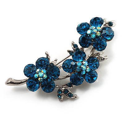 Swarovski Crystal Floral Brooch (Silver&amp;Azure)