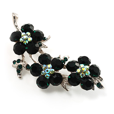 Swarovski Crystal Floral Brooch (Silver&amp;Emerald Green)