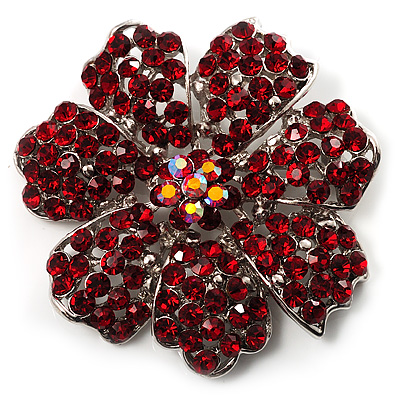 Hot Red Crystal Corsage Flower Brooch (Silver Tone)