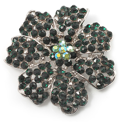 Emerald Green Crystal Corsage Flower Brooch (Silver Tone)