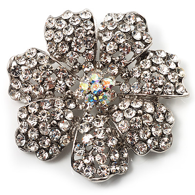 Clear Crystal Corsage Flower Brooch (Silver Tone)