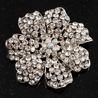 Clear Crystal Corsage Flower Brooch (Silver Tone) - main view
