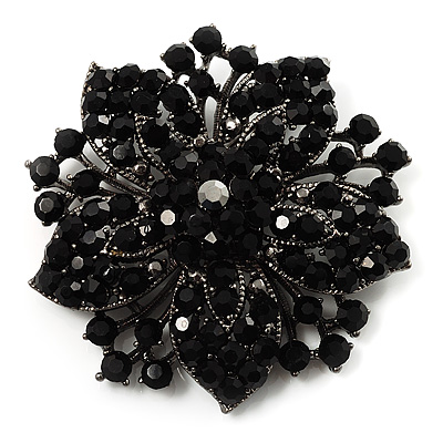 Victorian Corsage Flower Brooch (Silver&amp;Jet Black)